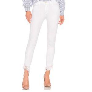 FRAME Denim Frayed Skinny Jeans